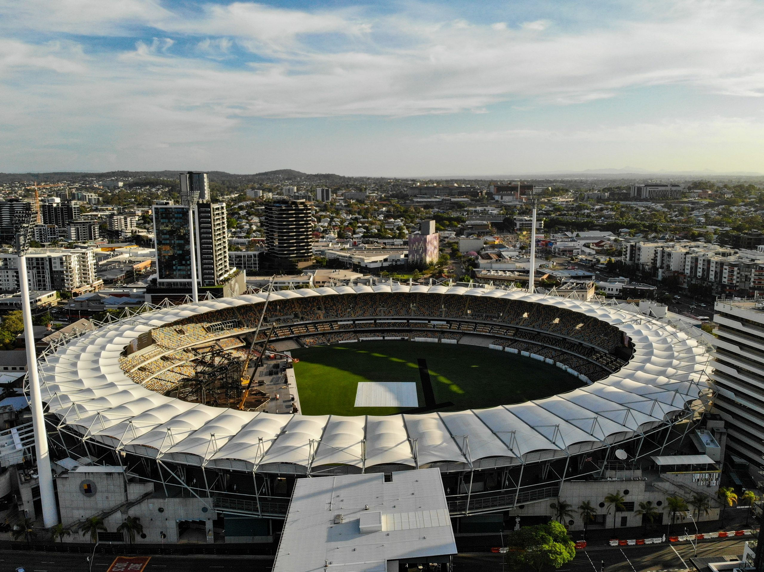 Picture of The Gabba stadium, hosting 2020 AFL grand final
