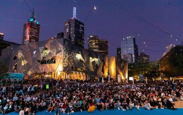 Picture of the Melbourne community watching the Australian Open in Federation Square
