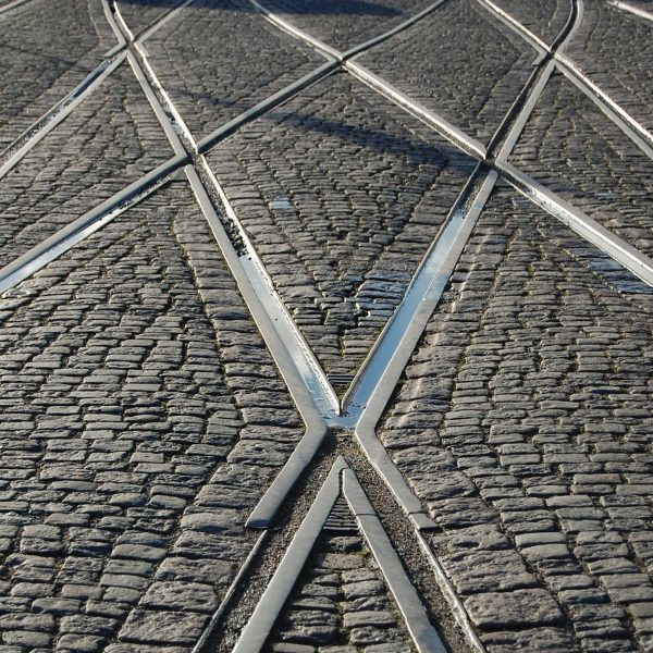 Picture of tram lines as Melbourne, showing the ground that shook during the earthquake in Melbourne