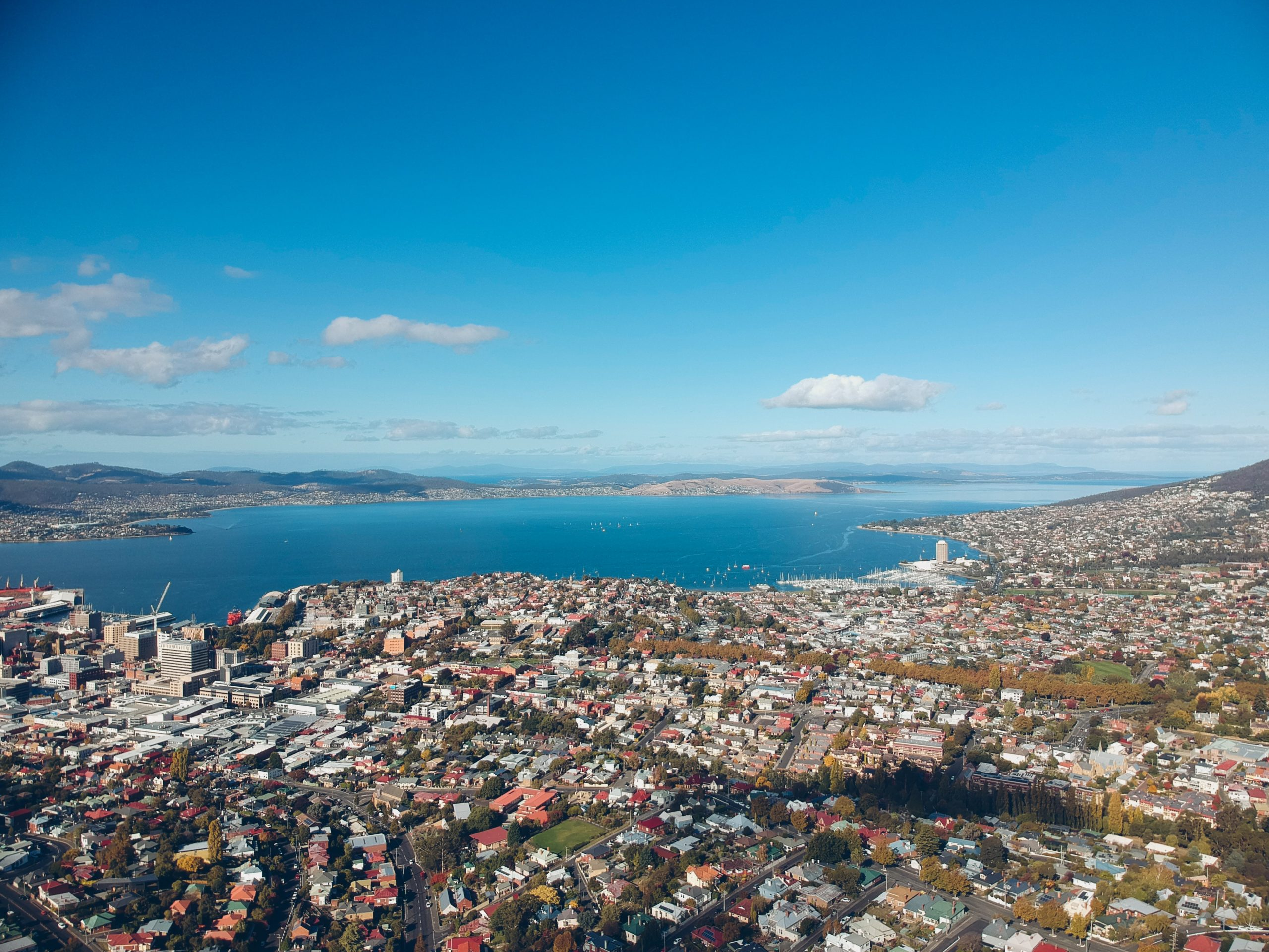 Aerial view of the city and all the things to do in Hobart by the water